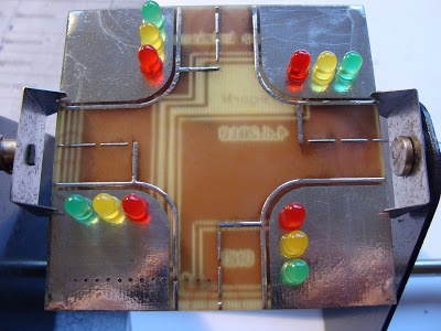 Finished model of crossroad with traffic light